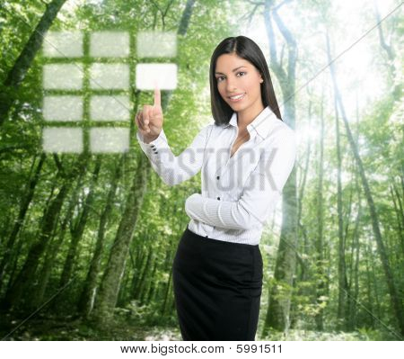 Brunette Ecological Businesswoman Touch Keypad