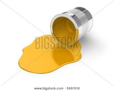 Yellow spilled paint