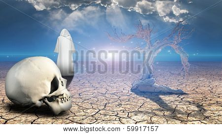 Wanderer on dried desert mud with human skull in foreground