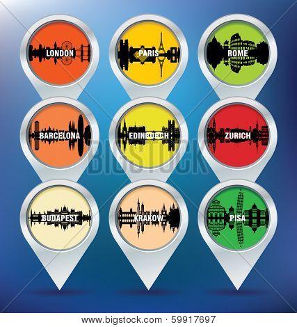 Map pins with London, Paris, Rome, Barcelona, Edinburgh, Zurich, Budapest, Krakow and Pisa - vector illustration