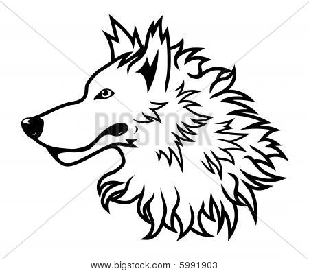 White Wolf Head. Black and white vector wolf head drawing. download preview