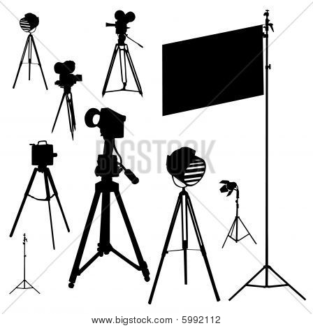 illustration with cinematographic set isolated on white background