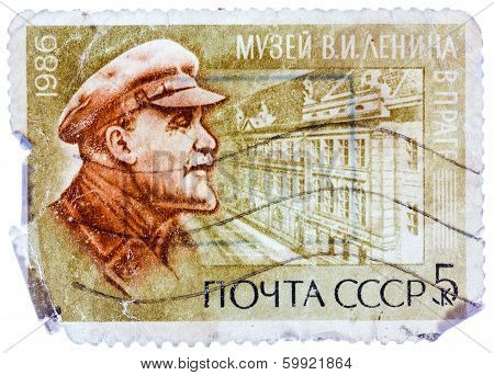 Stamp Printed In Russia Shows Portrait Of Vladimir Ilyich Lenin