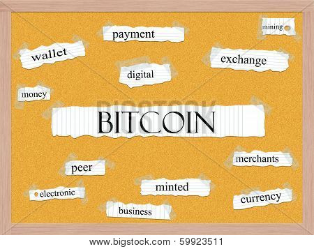 Bitcoin Corkboard Word Concept