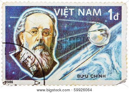 Stamp Printed In The Vietnam Shows Konstantin Tsiolkovsky, 1St Manned Space Flight, 25Th Anniversary