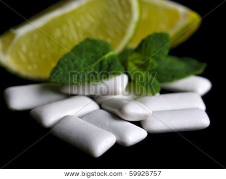 Chewing gum with fruit taste,  isolated on black