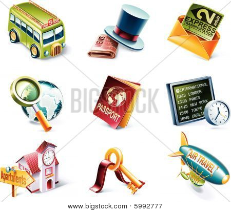 Vector cartoon style icon set. Part 5. Traveling