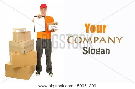 Young delivery man with parcels and clipboard, isolated on white