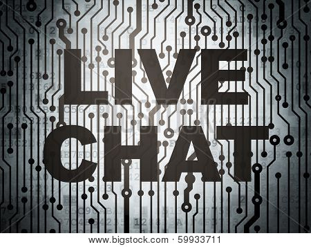 Web development concept: circuit board with Live Chat