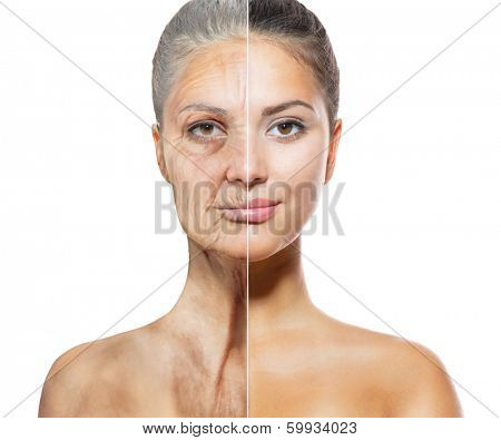 Aging and Skin care concept. Face of young woman and old woman with wrinkles isolated on white background.  The same young and old face. Same Person in her Youth and old age