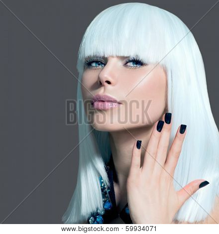 Fashion Vogue Style Model Portrait. Beauty Woman with White Hair and Black Nails. Beautiful Stylish Girl Portrait. Makeup. Fringe hair style. Over Grey Background