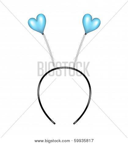 Headband with blue hearts