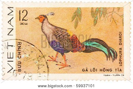 Stamp Printed In Vietnam Shows Animal Ornamental Bird