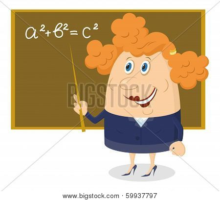 Teacher woman with blackboard
