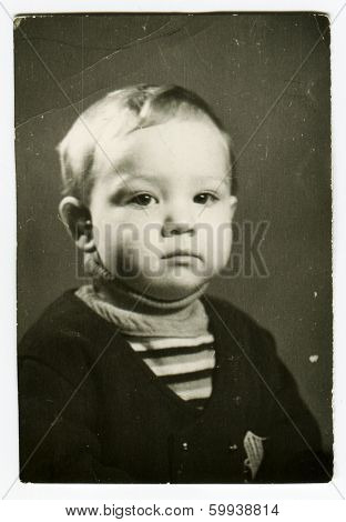 KURSK, USSR - CIRCA 1971:  An antique photo shows  portrait of a little boy.