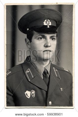 KURSK, USSR - CIRCA 1980:  An antique photo shows  portrait of a Soviet Army soldiers in uniform.