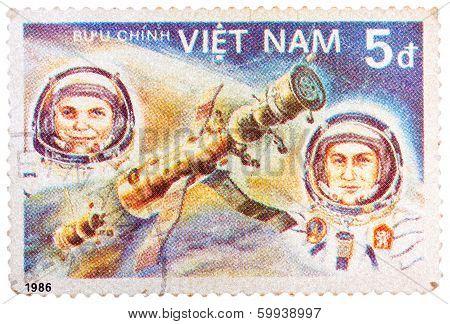 Stamp Printed In Vietnam Shows Vietnam Cosmonaut Pham Tuan And Soviet Cosmonaut Viktor Gorbatko