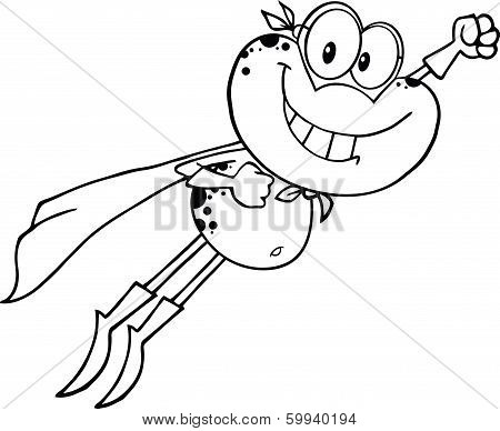 Black And White Frog Superhero Cartoon Character Flying
