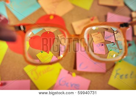 Love messages on post its seen through retro glasses.