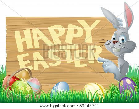 Easter Bunny And Eggs Sign