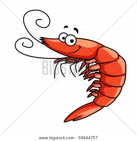 Happy prawn or shrimp with curly feelers