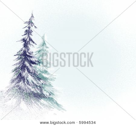 christmas tree or pine tree in soft snowy abstract background