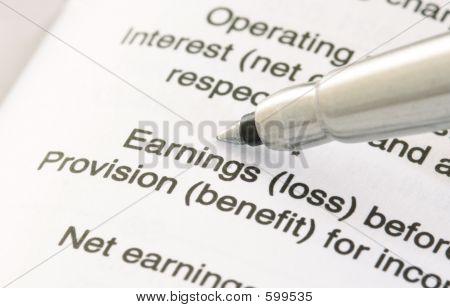Pen On Financial Statement