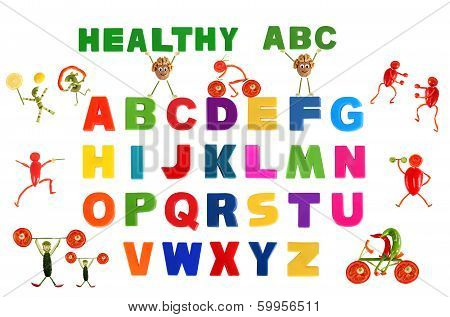 Alphabet Written In Multicolored Plastic Kids Letters