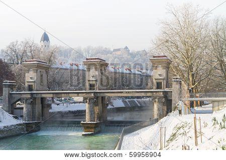 Sluice On The River Ljubljanica, Ljubljana, Slovenia.