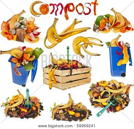 Collection  of compost pile soil with  kitchen scraps close up isolated on white background