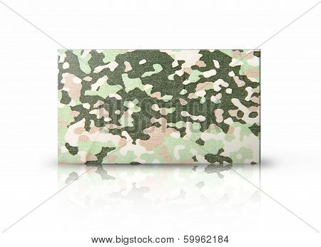 Rectangular Placard Of Military Green Fabric Over White Background.