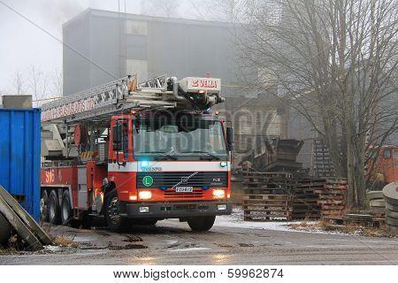 Volvo Fire Truck At Cement Plant Fire In Salo, Finland