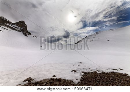 Snowy Mountain Pass And Sky With Clouds At Evening
