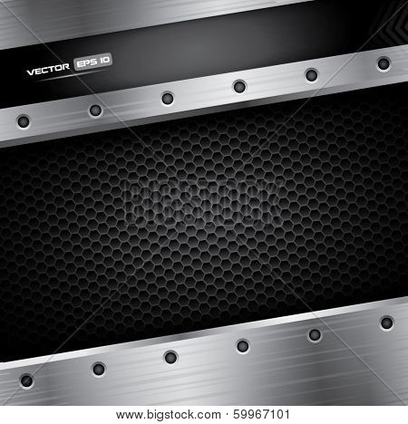 Metal background - vector illustration with steel frame and carbon pattern