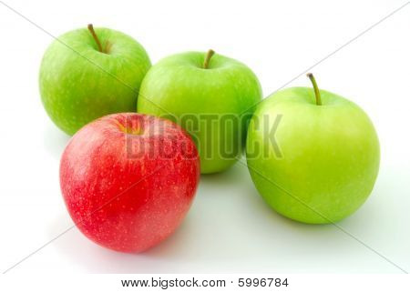 Red Apple Standing Out From The Crowd