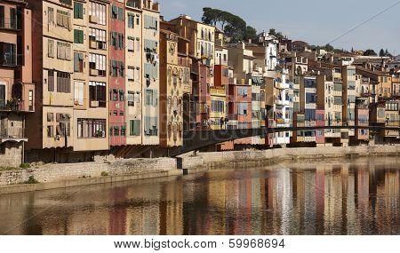 Spain. Catalonia. Girona. Colorful Houses.