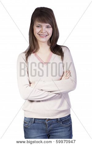 Isolated Smiling Caucasian Young Woman
