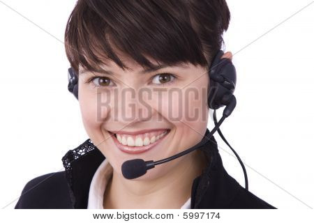 Call Center Operator. Woman With Headset