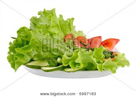 Healthy Garden Salad With Tomatoes And Cucumbers And Salad Leaves.e.