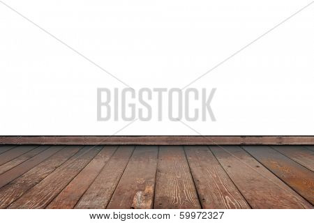 old wooden floor isolated on white background