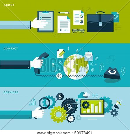 Set of flat design vector illustration concepts for services, contact and about categories