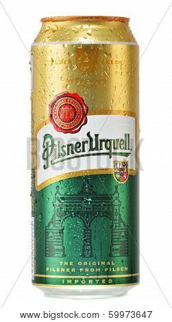 Can Of Pilsner Urquell Beer Isolated On White