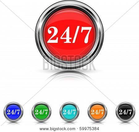 24 7 Icon - Six Colors Vector Set