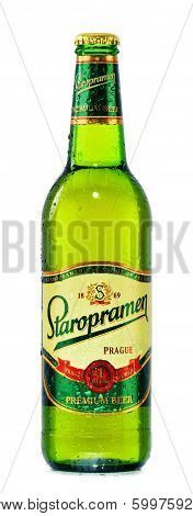 Bottle Of Staropramen Beer Isolated On White
