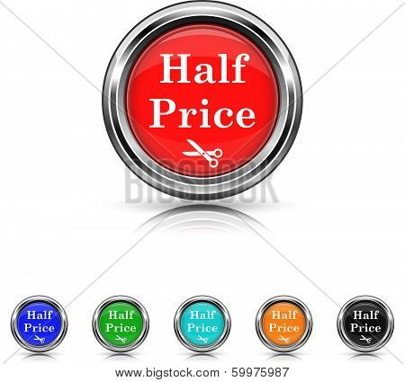 Half Price Icon - Six Colors Vector Set