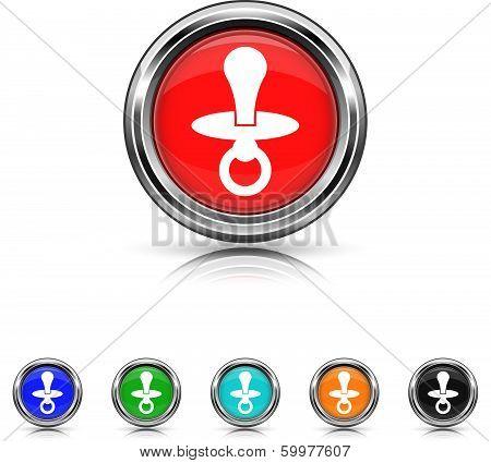 Pacifier Icon - Six Colors Vector Set