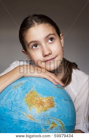 Dreaming Girl With Blue Globe