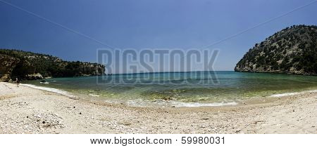 Panoramic view of beautiful clear water beach