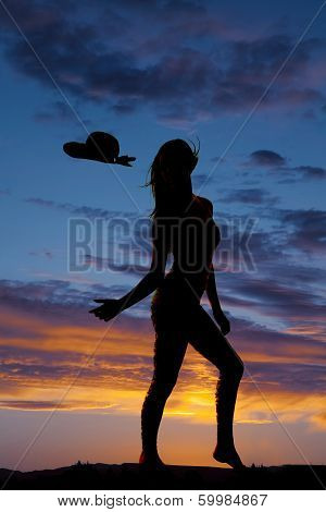 Silhouette Woman Hat Blow Off Reach