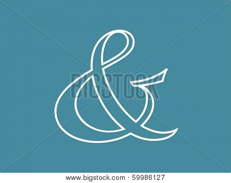 White custom decoration ampersand on blue. Vector illustration